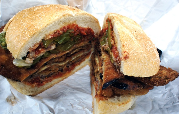 Breaded eggplant deliciousness from Mustachio in St Lawrence Market in Toronto