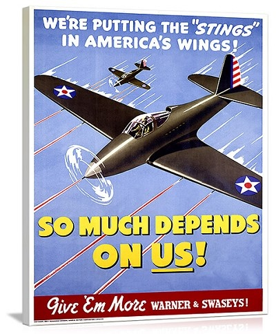 So Much Depends On Us WWII P40 Vintage Printed On Canvas