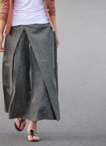 pleated linen skirt
