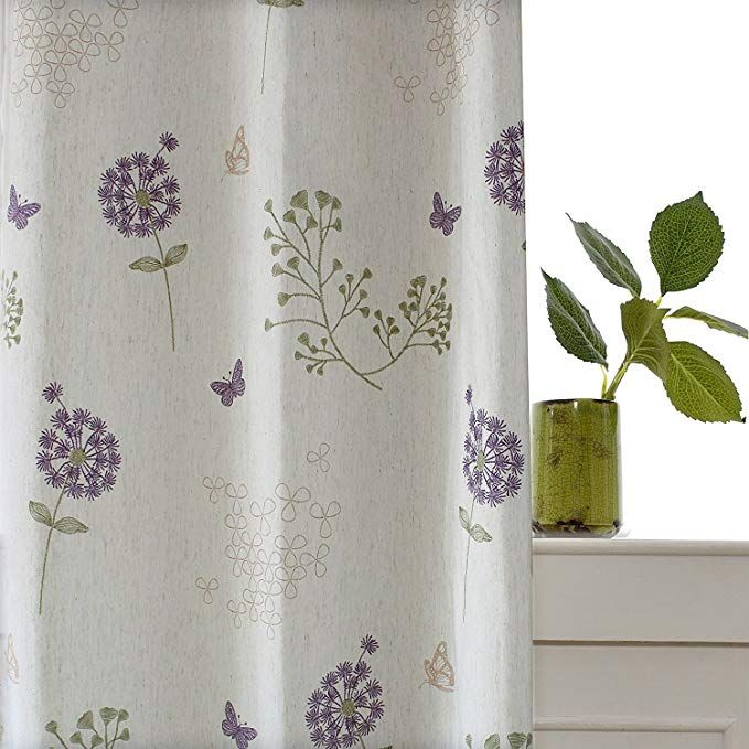 Purple Flower Off White Curtain Koting 1 Panel Dandelion Butterfly Blackout Lined Short Curtain Linen Bedro Off White Curtains White Curtains Floral Curtains