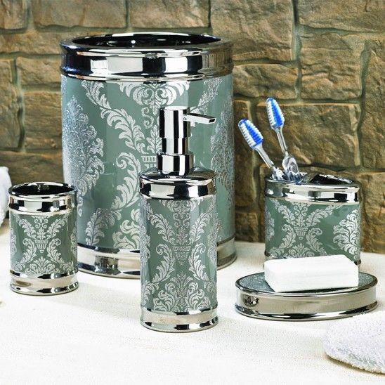 Silver Bathroom Accessories : Silver Damask Bathroom Accessories  Décor  Pinterest