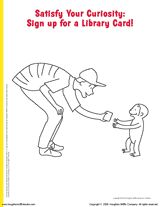 Encourage Children To Sign Up For A Library Card With This Printable Curious George Coloring Page