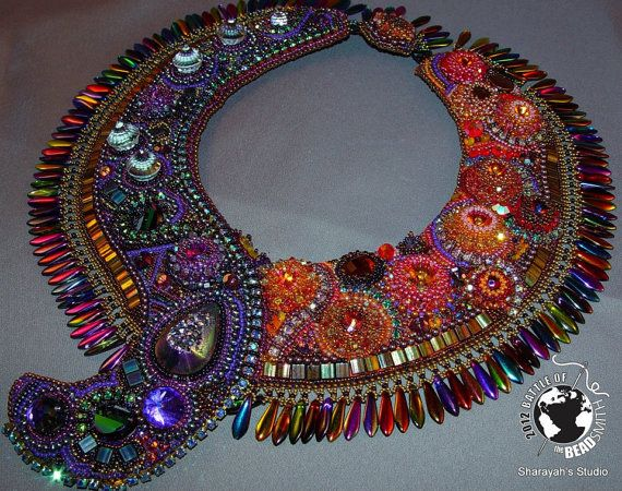 CARNIVAL  Bead Embroidery Necklace:  MADE to ORDER