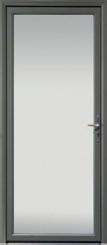 Porte aluminium, Porte entree, Bel'm, Contemporaine, Poignee plaque etroite couleur argent, Grand vitrage, Double vitrage sable, Isolation thermique et phonique, Luminosite, Kigali