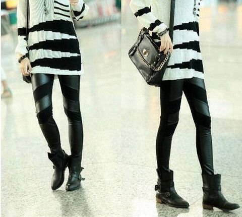 Straight Leg PU Leather Splicing Slimming Simple Design Leggings – teeteecee - fashion in style