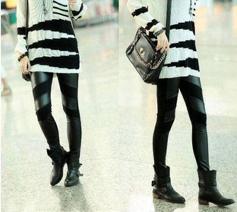 Straight Leg PU Leather Splicing Slimming Simple Design Leggings – teeteecee - fashion in style