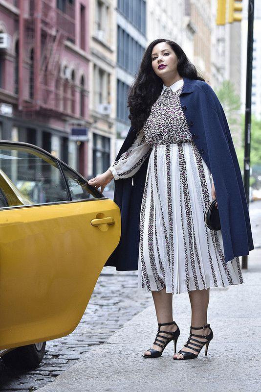 3a40c56c3b69f Girl With Curves x Lane Bryant Sweater Cape + Mixed Print Dress  GWCxLB