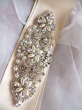 Pearl Rhinestone Applique, Bridal Sash Applique, Bridal Belt Applique