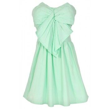 Lily Boutique Peek A Bow Dress in Light Green - DRESSES Lily Boutique