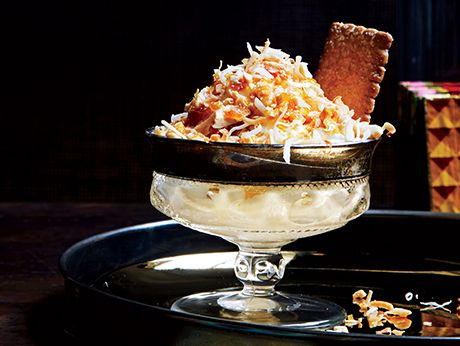 Toasted Coconut Sundaes with Candied Peanuts Recipe | Epicurious.com