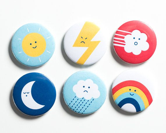 Each fridge magnet shows a mood of the weather; a happy smiling sunshine, a sleepy moon, a cross lightning bolt, a happy rainbow, a sad rain cloud
