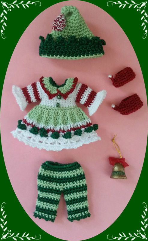"""Crochet Clothes Striped Elf Outfit for 4 ½"""" Kelly & same sized dolls"""