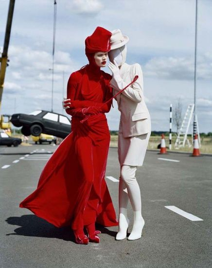Tim Walker - and this image brings to mind for me the Red Queen and the White Queen, and the anarchy/chaos in their wake as they move through the chessboard of life.