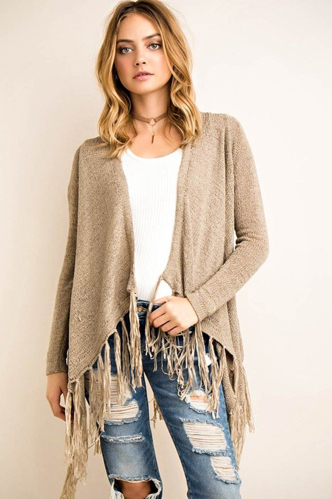 GiGi Fringe Cardigan - cold weather essentials