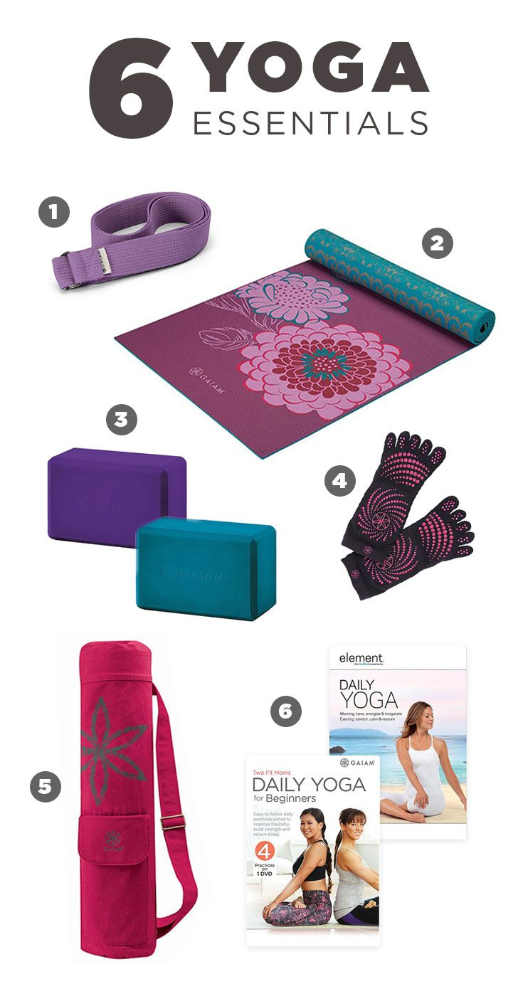 New to yoga? It's easy to get started with just six yoga essentials. Featured Gaiam product: 6-ft. yoga strap, Kiku reversible mat, foam yoga blocks, grippy yoga socks, Harmony Flower yoga mat bag, Element Daily Yoga DVD, and Two Fit Moms Daily Yoga for Beginners DVD. Say namaste with Kohl's.