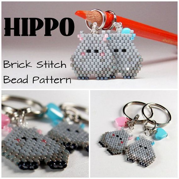 Hippo   Seed Bead Patterns Brick Stitch Animal by BeadCrumbs