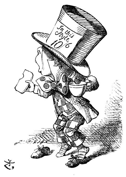 Sir John Tenniel's Classic Illustrations of Alice's Adventures in Wonderland Mad Hatter with cup of tea