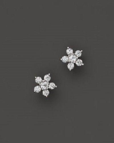 03aa1bc48 14K White Gold Over diamond earrings womens Flower crystal Stud Earrings  #JulieJuhi #Stud