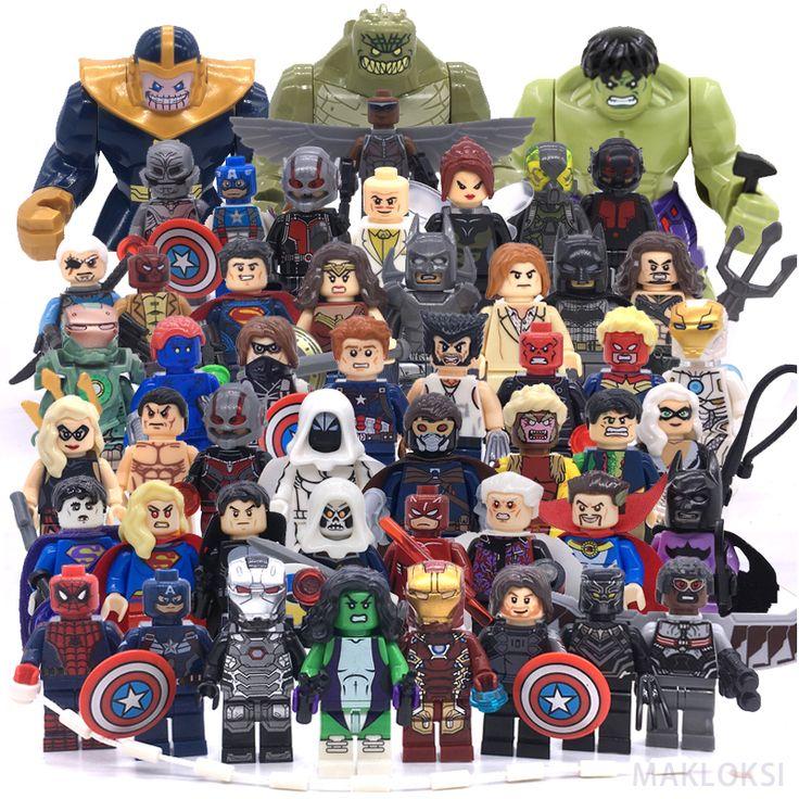 Juguetes clásicos modelos de figuras de acción de marvel legoinglys secuela superman batman iron man hulk bloques huecos de diy regalos de los niños