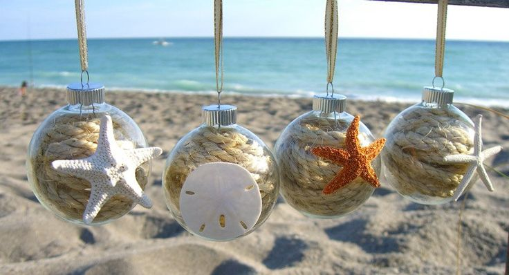 christmas ornaments set of 4 sea life collection starfish ornaments sand dollar ornament - Beach Christmas Ornaments