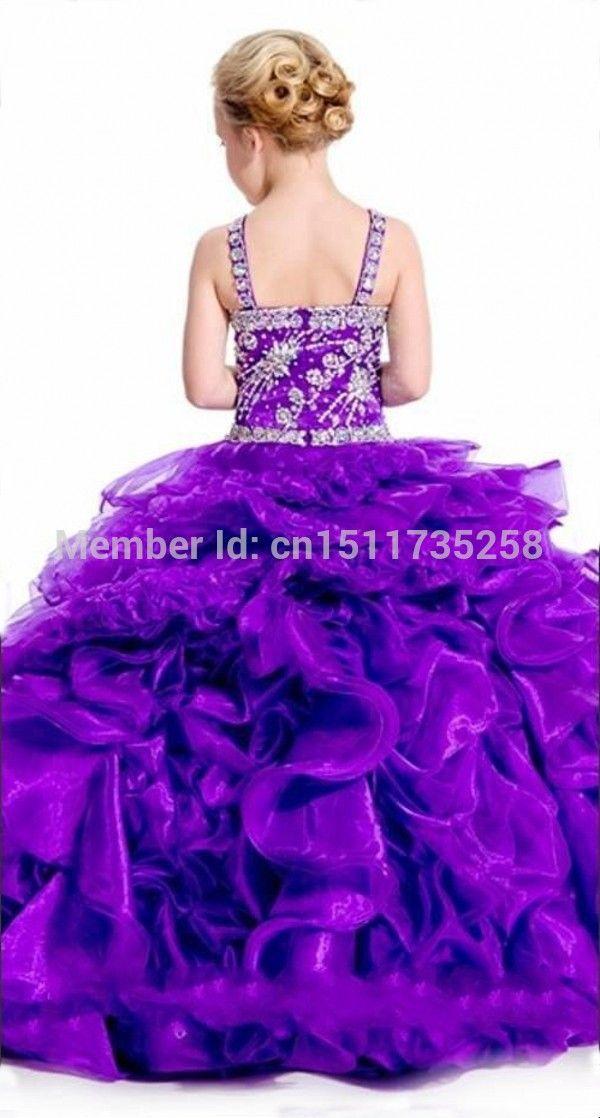 Modest roxo vestido de princesa frisada Pageant vestido Spaghetti Strap vestidos menina em Vestidos de Dama de Honra de Casamentos e Eventos no AliExpress.com | Alibaba Group