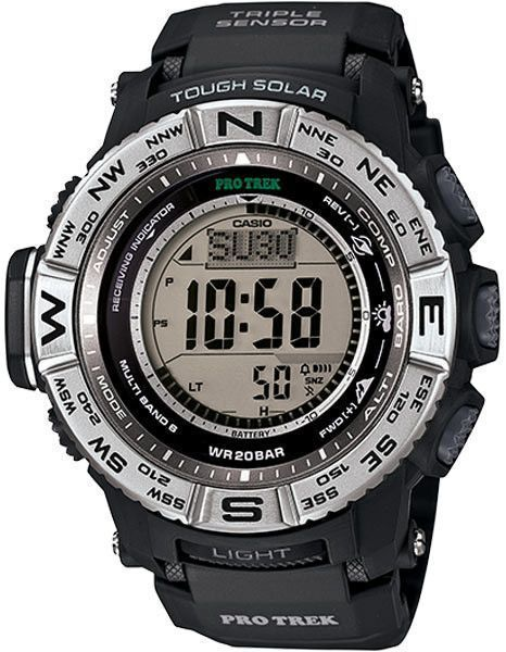 Casio ProTrek Solar Atomic Outdoor Activity Watch - Black - 200 Meters