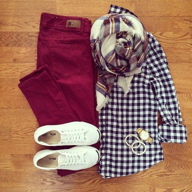 Navy Gingham Shirt, Burgundy Skinny Jeans, Plaid Blanket Scarf, Jack Purcell Converse Sneakers | #weekendwear #casualstyle #liketkit | www.liketk.it/YQqc | IG: @whitecoatwardrobe