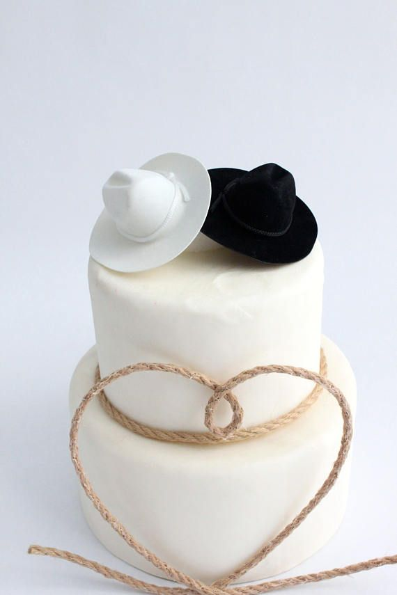 Pair of Cowboy Hat Cake Topper White and Black Country