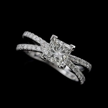 Only with plain bands no little diamonds. Platinum 950 Split Shank Diamond