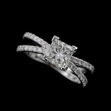 Platinum 950 Split Shank Diamond Princess Cut Engagement Ring Mounting | OroSpot - Jewelry on ArtFire