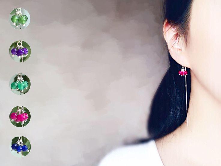 Chaînes d'oreilles traversantes Argent 925 Perle de Calcédoine Bleu rose violet vert / Boucles Délicates Chaînette coulissante Tous Les Jour par lailaik sur Etsy https://www.etsy.com/fr/listing/541231895/chaines-doreilles-traversantes-argent