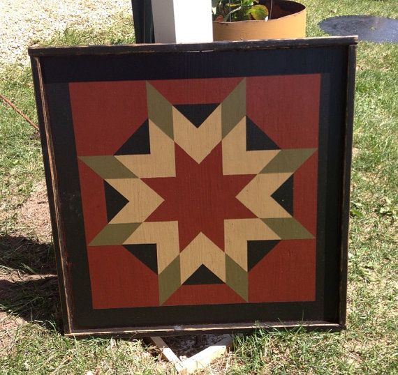 PriMiTiVe Hand-Painted Barn Quilt, Framed 2' x 2' Harvest Star Pattern on Etsy, $75.00