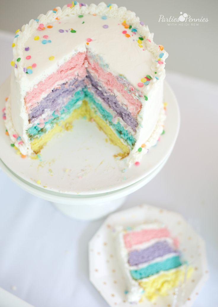 PONY PARTY - Rainbow Sprinkle Cake | PartiesforPennies.com | My Little Pony | Pinkie Pie | Girl Birthday Party