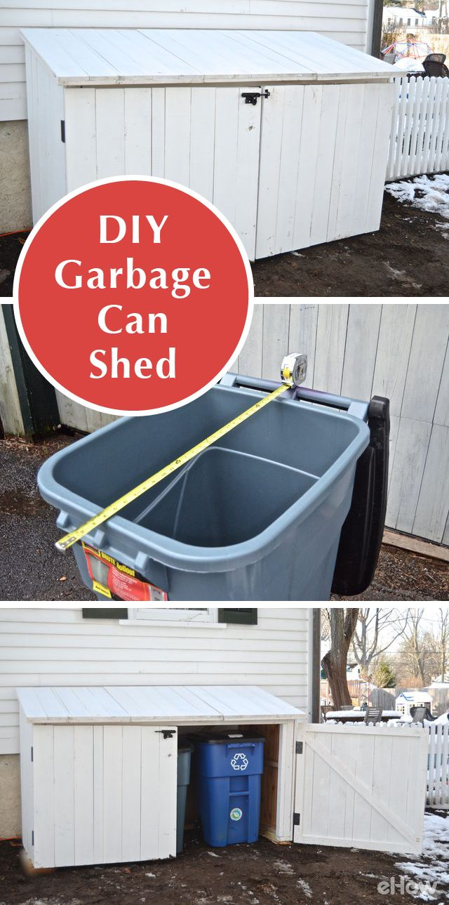 Garbage cans are ugly perched against the side of your home, so why not build your own shed to conceal them and still provide easy access? With basic woodworking you can build a custom garbage shed to hide trash cans perfectly. This is a free-standing shed that fits 3 trashcans; there are 3 lids & 2 doors with an open back. http://www.ehow.com/how_5059928_make-outdoor-garbage-can-shed.html?utm_source=pinterest.com&utm_medium=referral&utm_content=freestyle&utm_campaign=fanpage