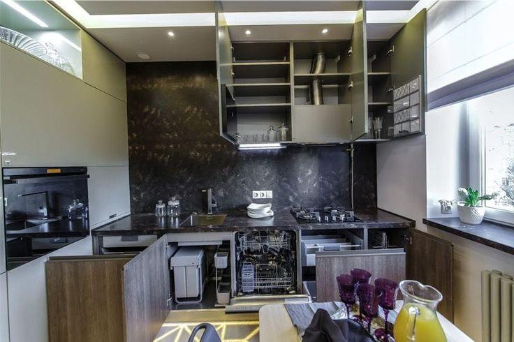 Г-образная кухня площадью 11 кв. метров