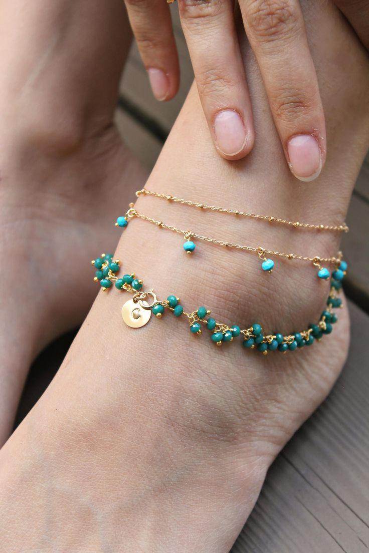 Chain anklet ankle bracelet beaded foot chain 14k gold   Etsy