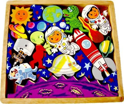 Artiwood Space Playtray. This beautifully crafted space scene wooden play tray featuring astronauts, rocket, alien and planets will provide hours of imaginative play for your little adventurer. $39.00 #educationaltoys #puzzle #kidspuzzle #toys