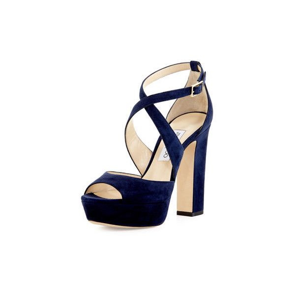 Jimmy Choo April Suede Crisscross 120mm Sandal ($586) ❤ liked on Polyvore featuring shoes, sandals, navy, block heel platform sandals, platform sandals, open toe sandals, strappy sandals and block heel sandals
