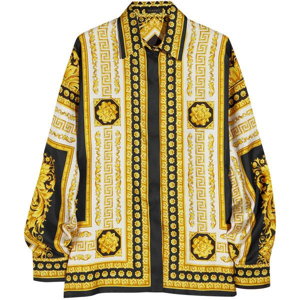 Versace Venetian print silk shirt (15 650 UAH) ❤ liked on Polyvore featuring tops, blouses, shirts, jackets, versace, long sleeve tops, silk print blouse, pattern long sleeve shirt, silk shirt and versace shirt