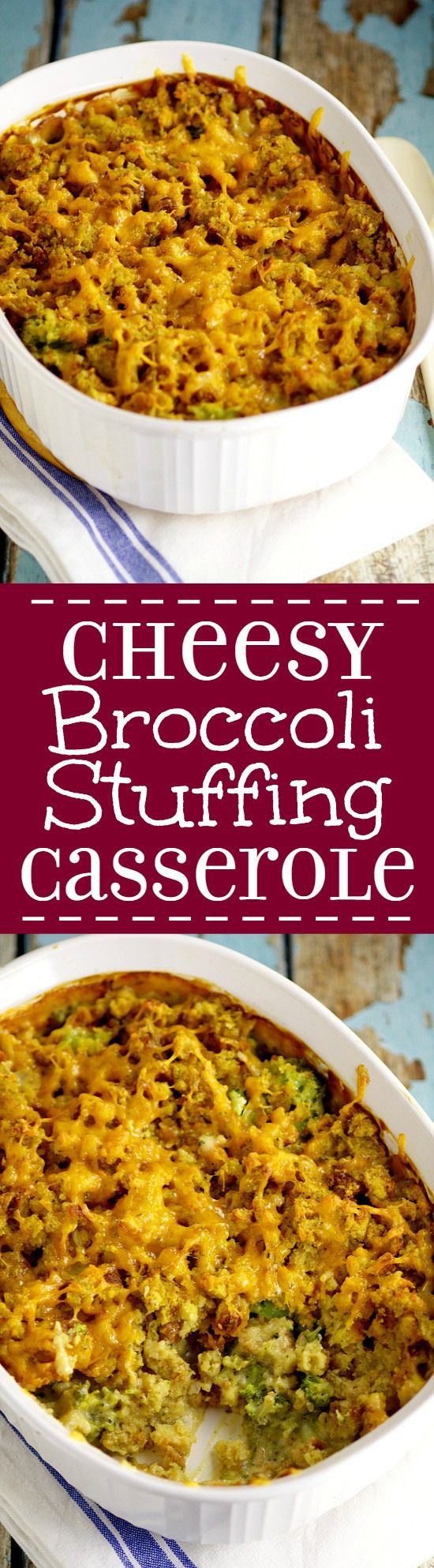 Creamy, cheesy, and cozy, this Cheesy Broccoli Stuffing Casserole with broccoli, stuffing, and LOTS of cheese is the perfect side to finish your meal! It's even great for Thanksgiving and the holidays! The perfect side dish recipe with vegetables.