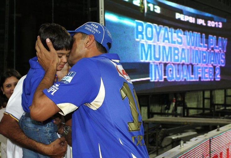 Rajasthan Royals captain Rahul Dravid gives his son a kiss after Rajasthan Royals beat Sunrisers Hyderabad to advance to Qualifier 2 during the eliminator match of the 2013 Pepsi Indian Premier League between The Rajasthan Royals and the Sunrisers Hyderabad held at the Feroz Shah Kotla Stadium, Delhi on the 22nd May 2013