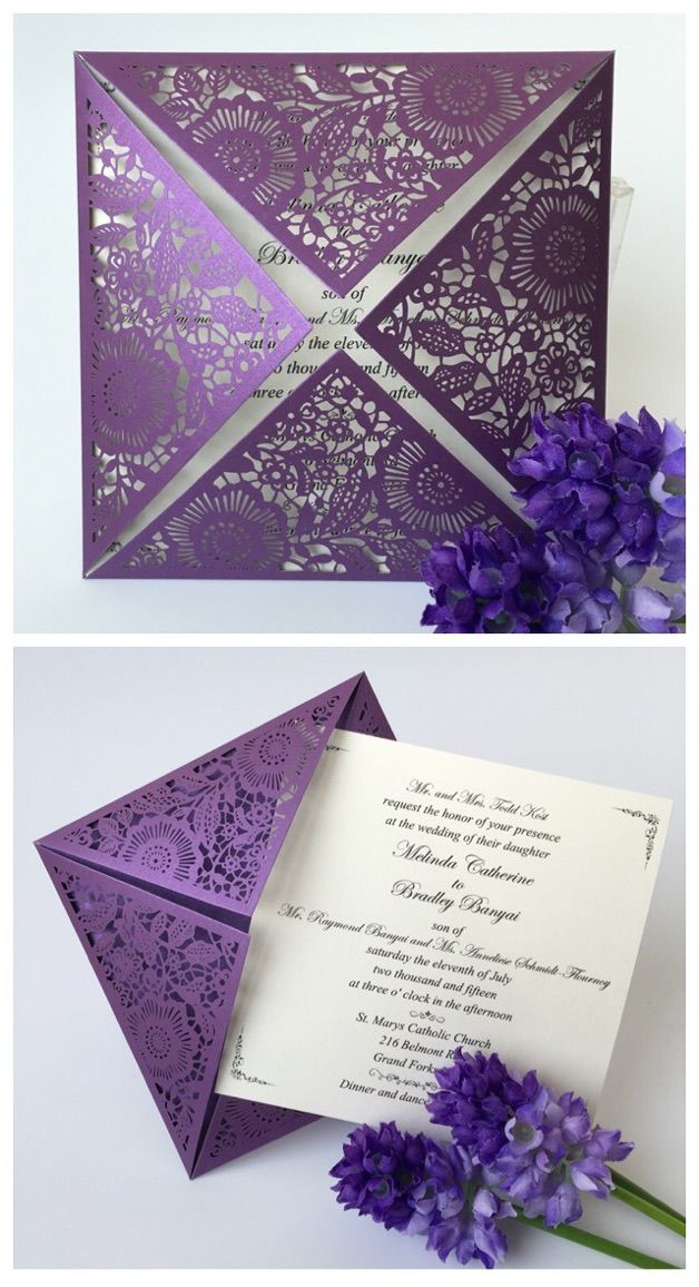 Purple Wedding Invitation, 2016 Wedding Invitation Cards