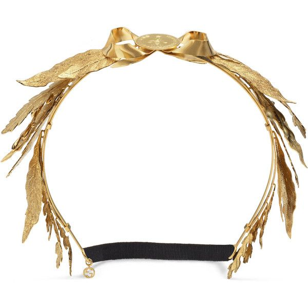 Gucci Metal Leaves Hairband (€1.620) ❤ liked on Polyvore featuring jewelry, accessories, runway accessories, women, gucci jewelry, metal jewelry, bumble bee jewelry, chain jewelry and coin jewellery