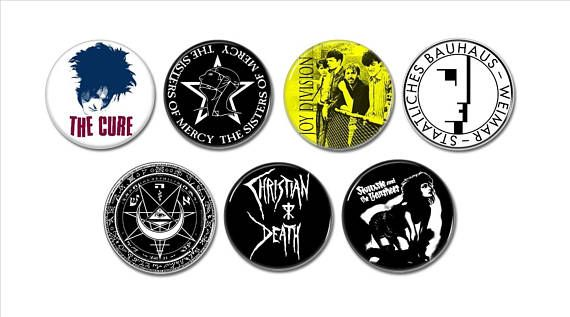 Gothic Rock band badges buttons set of 7 (25mm 1inch)  #gothicrock #gothicmusic #gothicbands #buttons #pins #pinbacks #badges #bauhaus #christiandeath #fieldsofnephilim