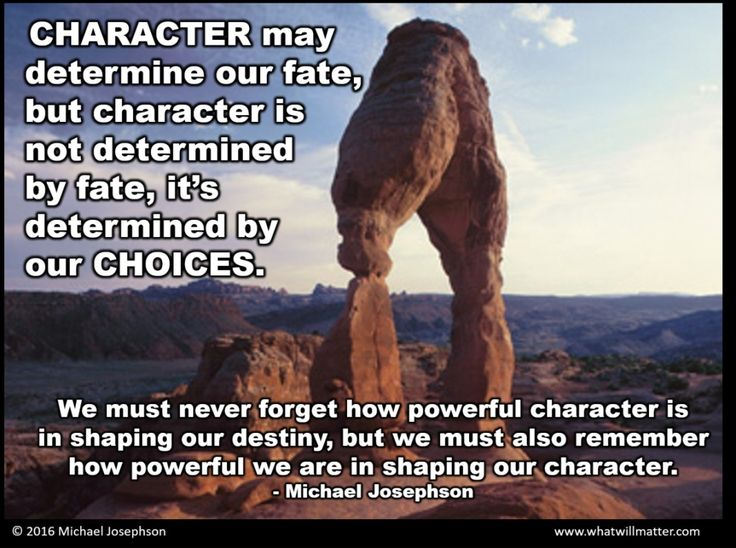 Character may determine our fate, but character is not determined by fate,it's determined by our choices. We must never forget how powerful character is in shaping our destiny, but we must also remember how powerful we are in shaping our character.  - What Will Matter