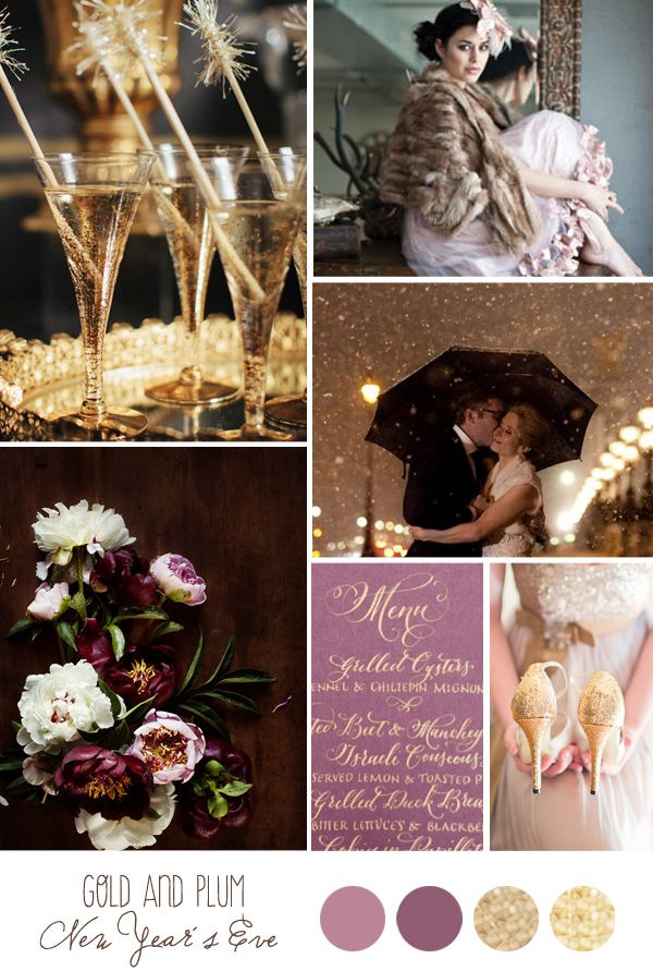 Plum is so versatile... who knew? Inspiration Board: Gold and Plum New Year's Eve - Belle & Chic                                                                                                                                                                                 More