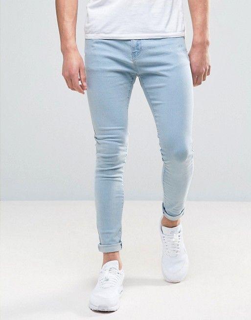 Bershka Super Skinny Jeans In   Bleach Wash $29.