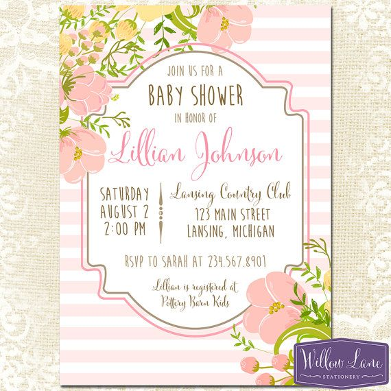 Girl Baby Shower Invitation - Floral Baby Shower Invite - Yellow and Pink Flowers Baby Shower - Shabby Chic Baby Shower -1190 - PRINTABLE - $15
