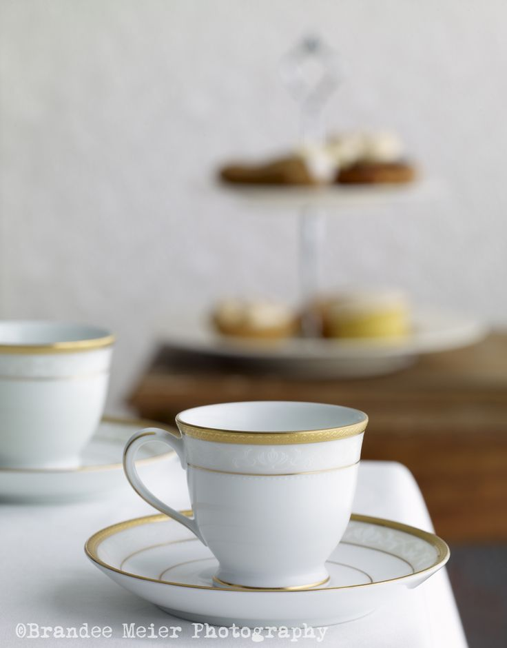 Noritake Hampshire Gold tableware, with gold trim, perfect for high tea. Photographed and styled by Brandee Meier Photography
