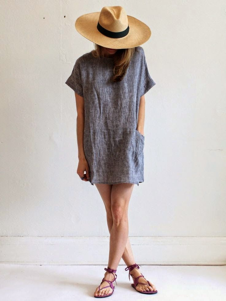 summer style / casual dress, panama hat